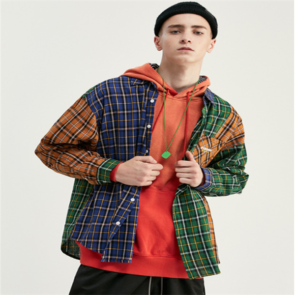 Plaid English printed men's loose shirt