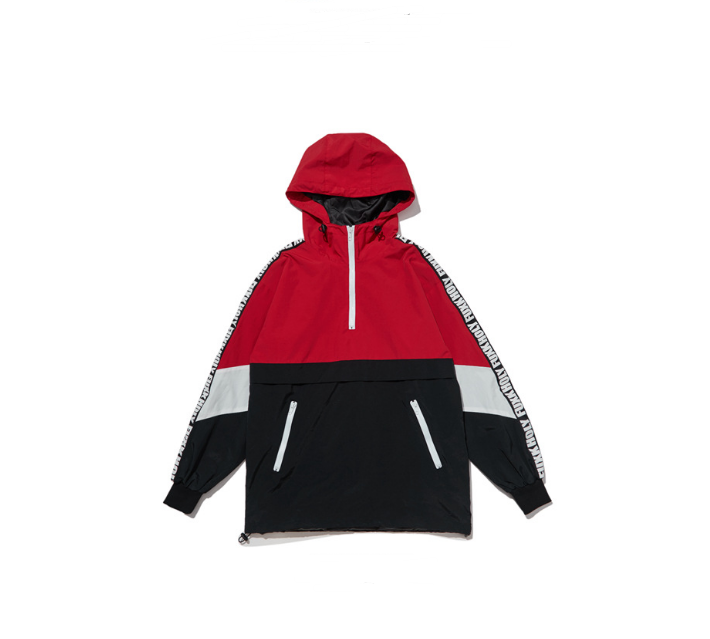 Colorblock alphabet sleeve windbreaker jacket