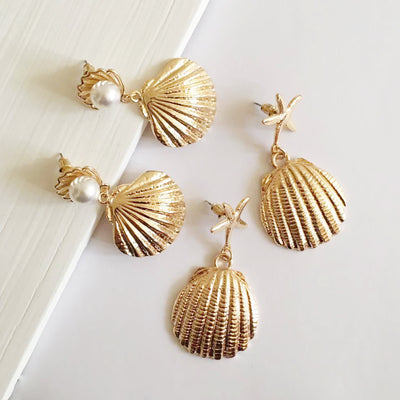 Coco&willow metal shell shape drop earrings for women starfish stud shell dangling fashion jewelry earrings accessories 2020