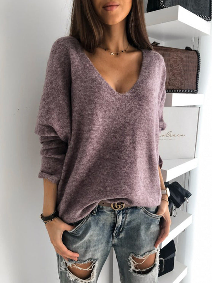 2019 new autumn winter Women v-neck solid Sweater Pullover Female Knitted sweaters Jumper casual Knitwear Pull Femme jersey