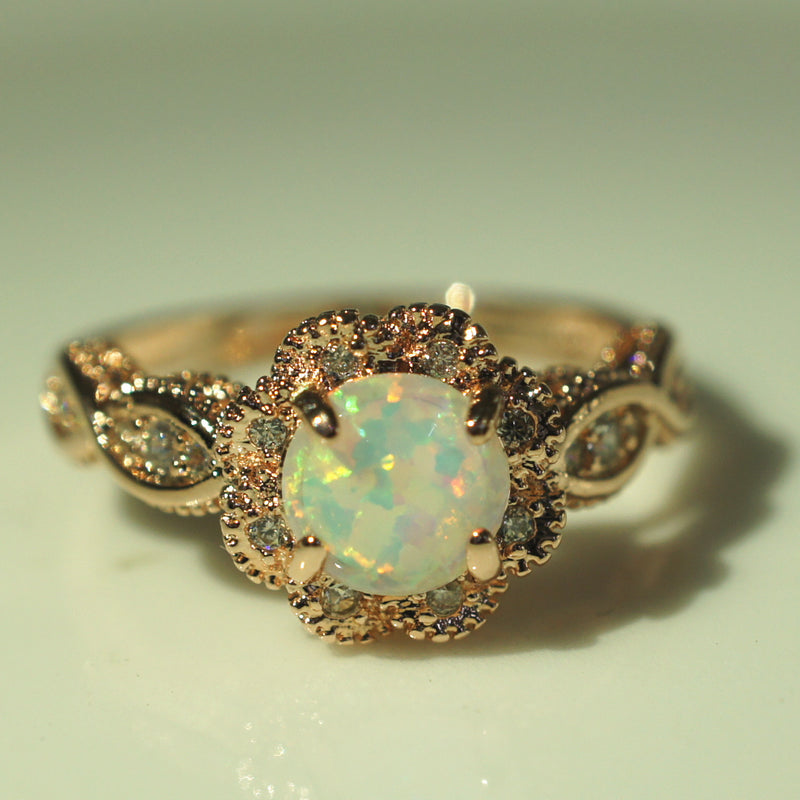 Opel ring European and American couple ring fashion jewelry opal ring female