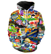 Explosion models digital printing hooded hood sweater casual loose version men and women couple models sweater