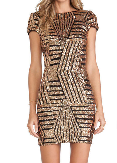 Gold sequined short sleeve hip dress