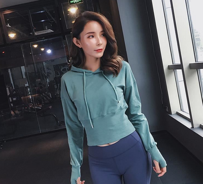 Short cropped waist belt sports sweater