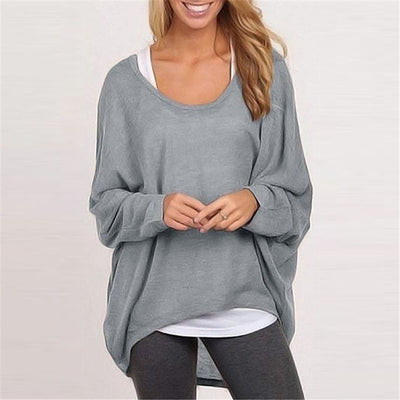 Sweater loose women's solid color T-shirt multi-color knitting
