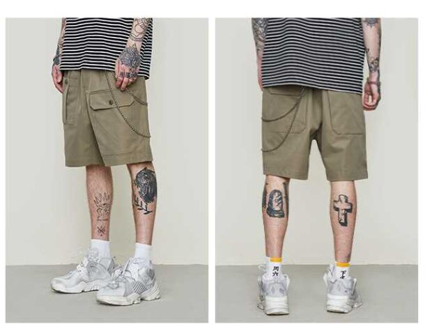 Spring and summer new style brand simple solid color function multi-bag men's casual tooling shorts