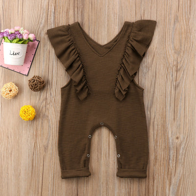 Baby Girl Ruffle Knitted Ruffles Romper Jumpsuit Kid Overalls Long Pants Outfit
