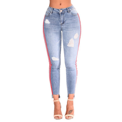 Denim stretch hole fashion ribbon denim high waist pants