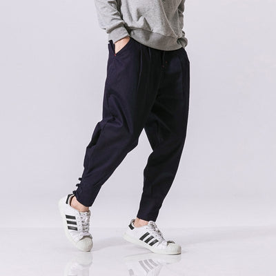 Cotton Linen Harem Pants Men Jogger Pants Male Fashion Autumn Casual Trousers Chinese Button Cross Pants Trousers