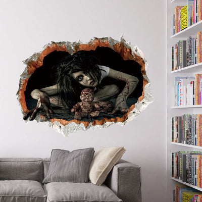 45 * 60cm Halloween decoration 3d see fear broken bloody ghost sticker Halloween party decoration DIY ZM
