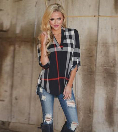 Plaid printed V-neck