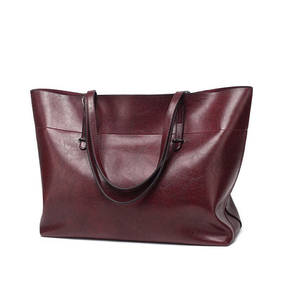 New handbag leather casual wax cowhide handbag bag lady bag factory wholesale (horizontal)