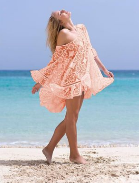 Lace embroidered beach dress