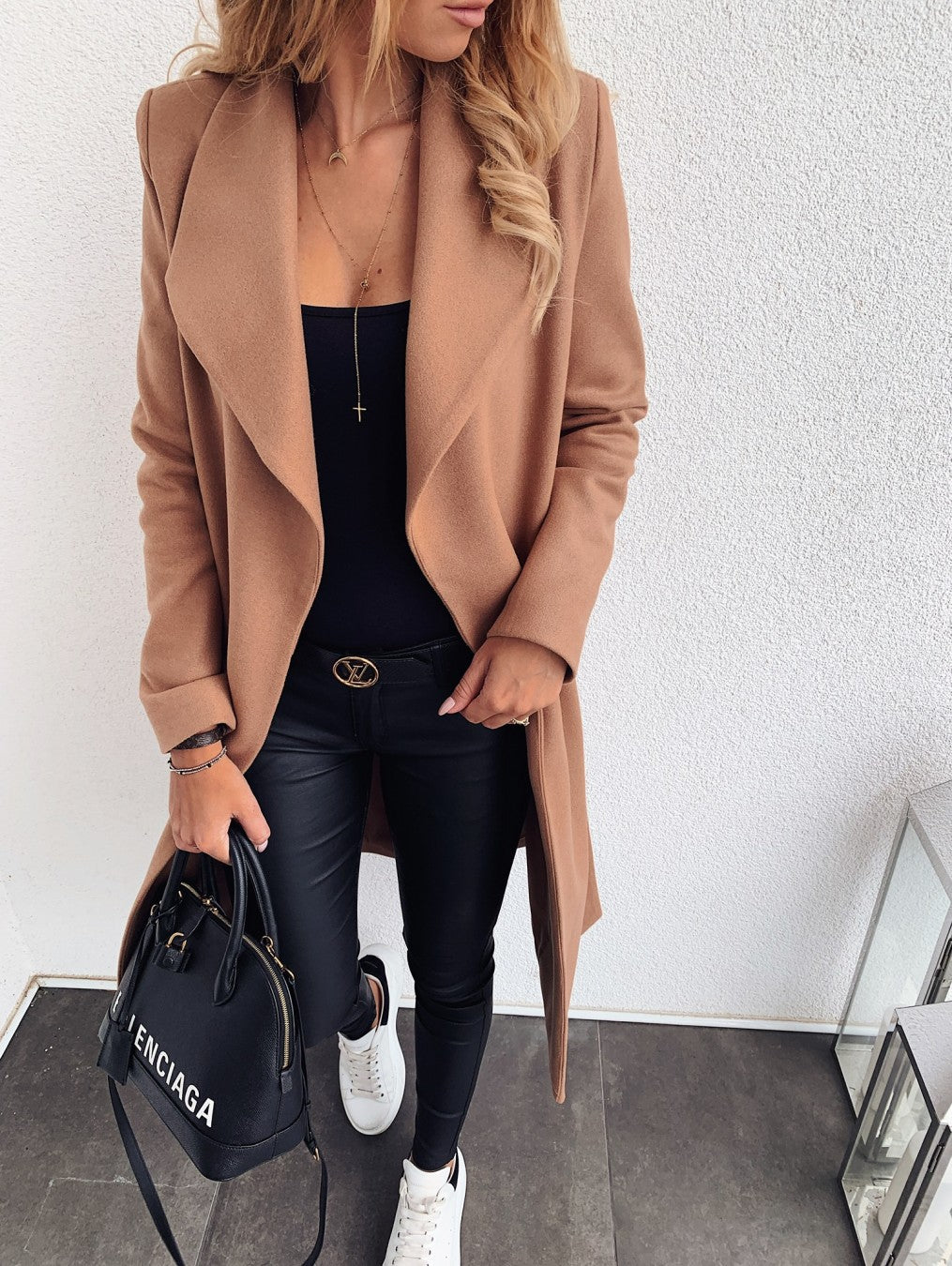 Woolen coat trench coat