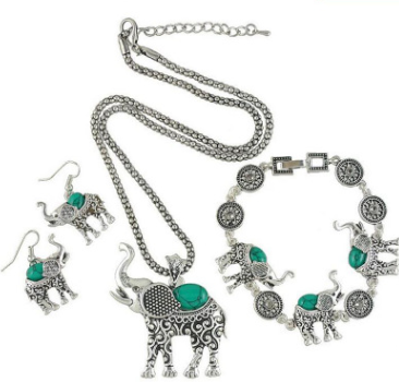 European and American retro turquoise elephant carved three-piece suit jewelry