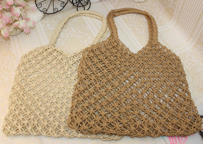 Bamboo and rattan straw weaving pointed Japanese and Korean style Mexican style portable diagonal package