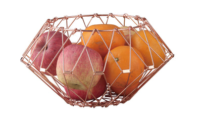 Collapsible stainless steel fruit basket foldable metal fruit bowl