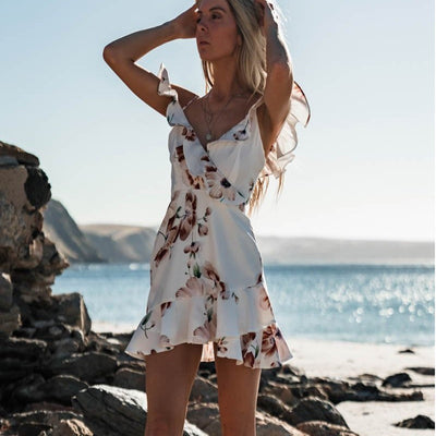 V-neck sling print hem ruffled dress