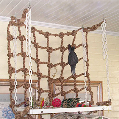 Pet Parrot Bird Net Cage Climbing Toy Swing Ladder Macaw Play Hanging Rope Hook