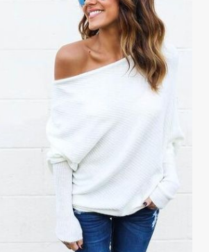 Sexy Strapless bat sleeve ladies T-shirt jacket sweater