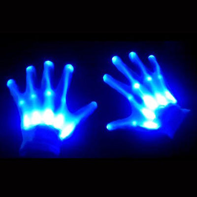 1Pair Chic LED Light Up Skeleton Hand Gloves Halloween Christmas Costume Decor