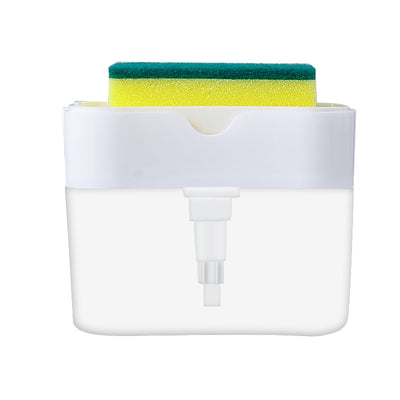 2-in-1 Soap Dispenser and Sponge Caddy Push-type Liquid Box Detergent Automatic Dosing Box