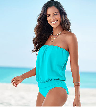 Solid color multi-code tube top strapless shoulders sexy one-piece swimsuit beach triangle swimsuit