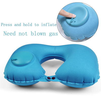 Travel U-shaped inflatable pillow portable compression inflatable aircraft protection vertebra u-shaped adult pillow