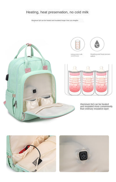 Bottle Heating Multi-Function Mommy Bag Waterproof Travel Baby Backpack With USB Interface