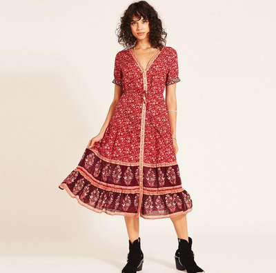 Women's dress autumn bohemian print dress
