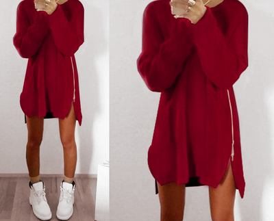 Autumn and winter Europe and the new casual loose zipper sweater dress
