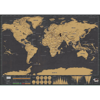 Personalized Black Scratch Off Art World Map Poster Decor Large Deluxe Poster Edition Travel