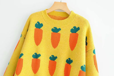 Autumn and winter new casual style women's carrot pattern pullover sweater