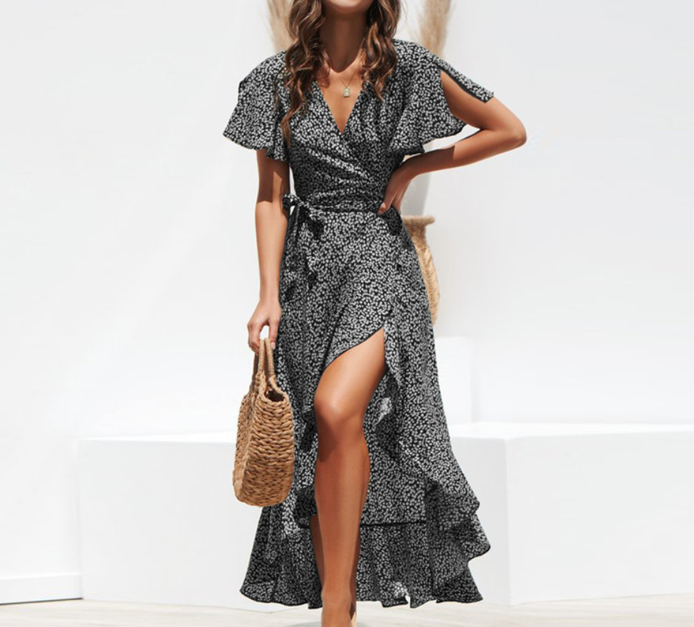 V-neck irregular high-rise lace-up chiffon print dress
