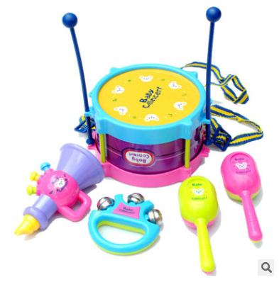 Children's fun 5 piece set puzzle baby musical instrument double-sided drum patting drum