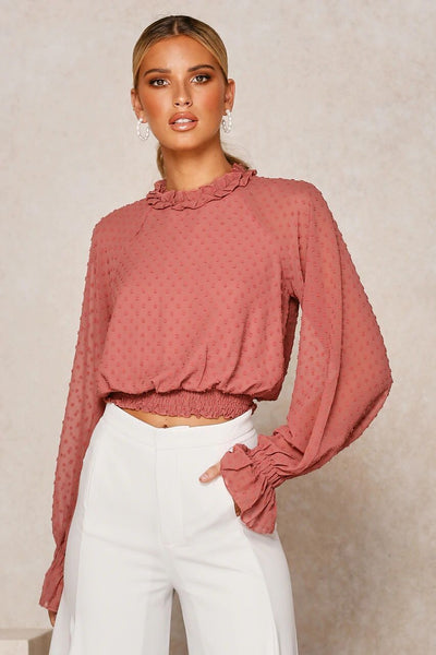 Fungus Long Sleeve Chiffon Top