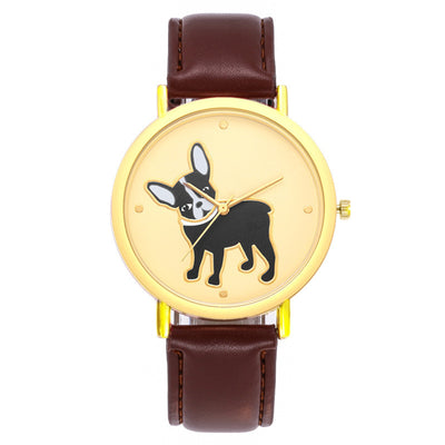 Fashion cute puppy pattern casual belt quartz watch