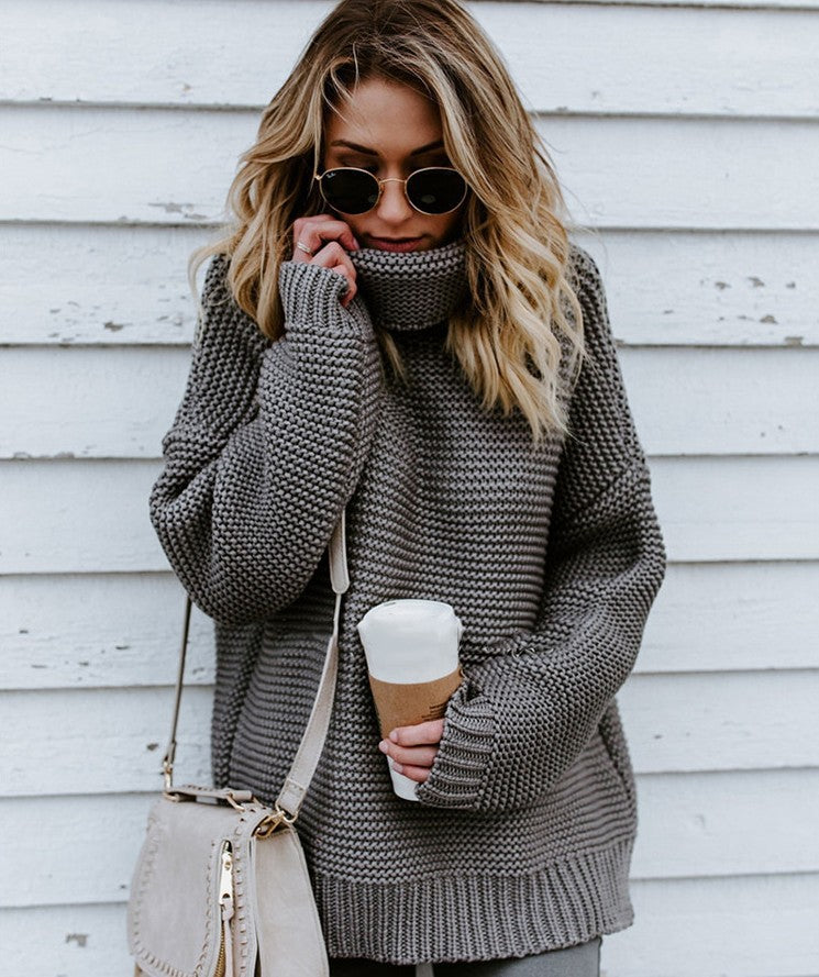 Thick line turtleneck sweater