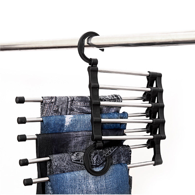 Multi-layer hanging pants storage rack five in one hundred magical magic hanger