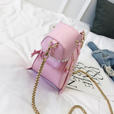 Dusun rivet personality dinosaur design fashion leather cross body mini shoulder bag women chain handbag shoulder bag gift Female