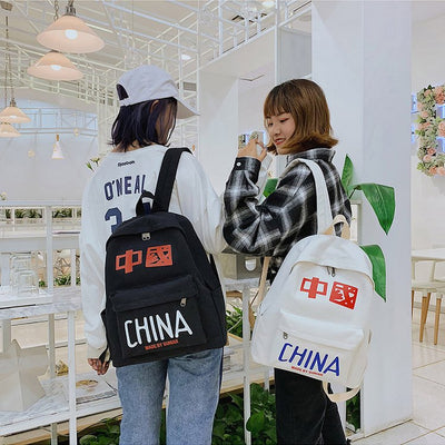 Canvas schoolbag female fashion trend junior middle school high school student backpack