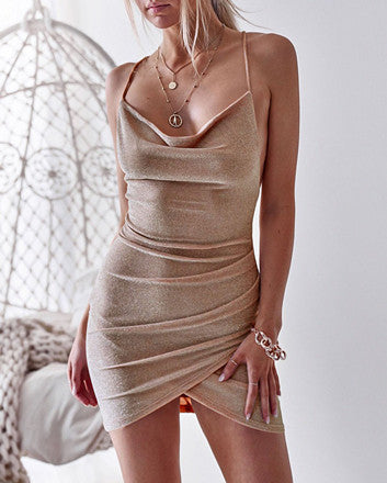 Sexy sling featuring a backless slim dress