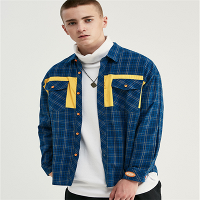 Plaid Letter Print Contrast Stitching Men's Loose Shirt
