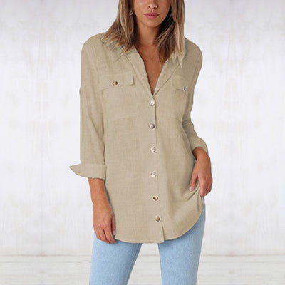 V-neck button long sleeve shirt