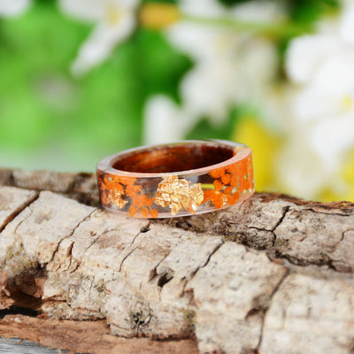 Handmade DIY romantic dry flower Real wood resin ring gold / silver paper inside ring women wedding party ring gifts for the lover