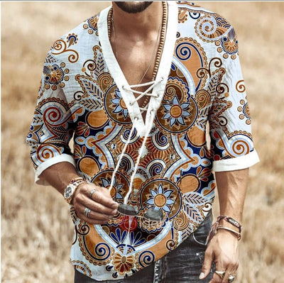 Printed lace mid sleeve T-shirt men