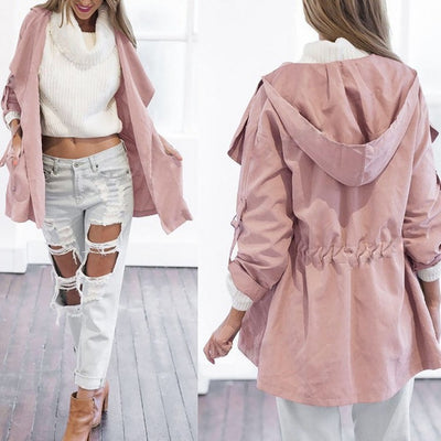 Solid color hooded trench coat