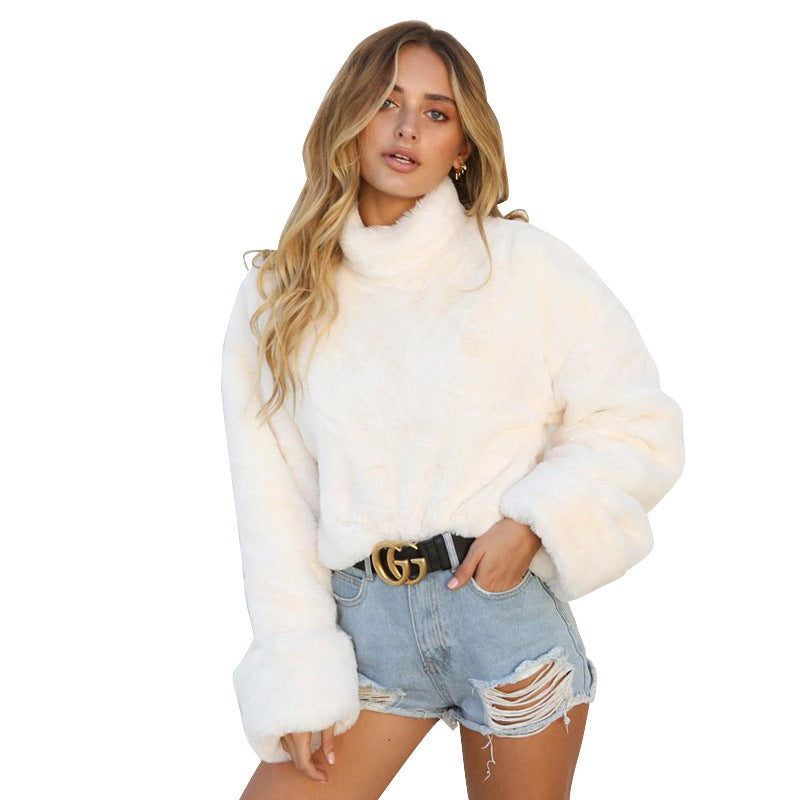 Long sleeve warm plush sweater