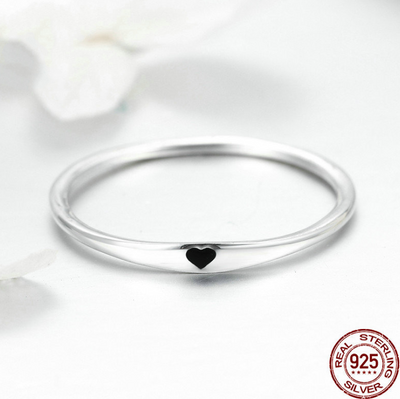 925 Sterling Silver Round Circle Pure Finger Ring Simple Heart Engrave Rings for Women Wedding Engagement Jewelry SCR468