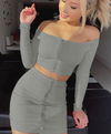 Long sleeve short skirt suit